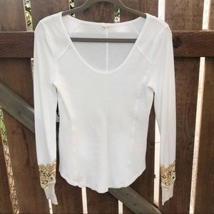 free people white embroidered thermal size s
